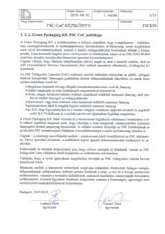 Greenpackaging Kft. FSC CoC politikája